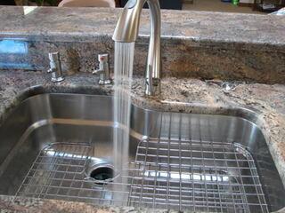 Franke Kitchen Sink ORX110 with Right Hand Shelf Grid OC-31C-RH and OC-36C Bottom Grid