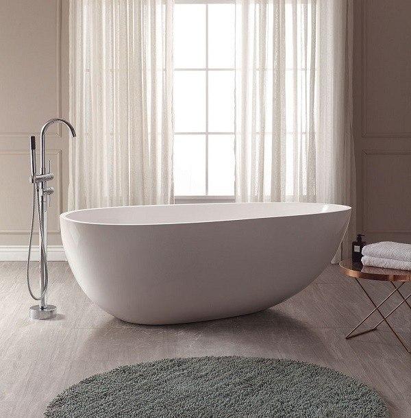 Avanity VBT1503 MT VersaStone 67 5 Inch Freestanding Bathtub With Pop Up Cent