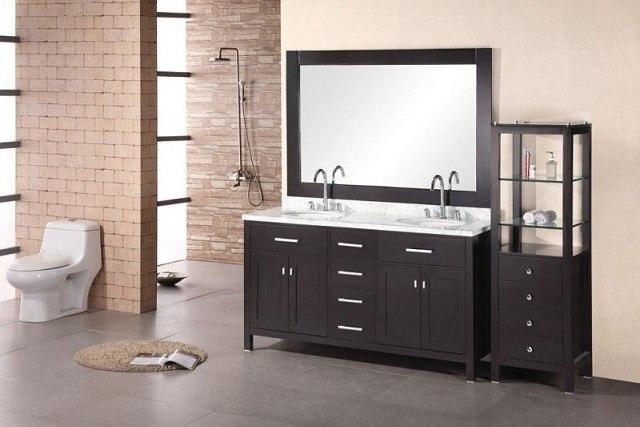 Design Element DEC076A London 61 Inch Double Sink Vanity Set In Espresso