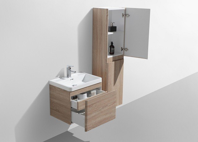 24 inch white oak wall mounted modern bathroom vanity with 2 drawers