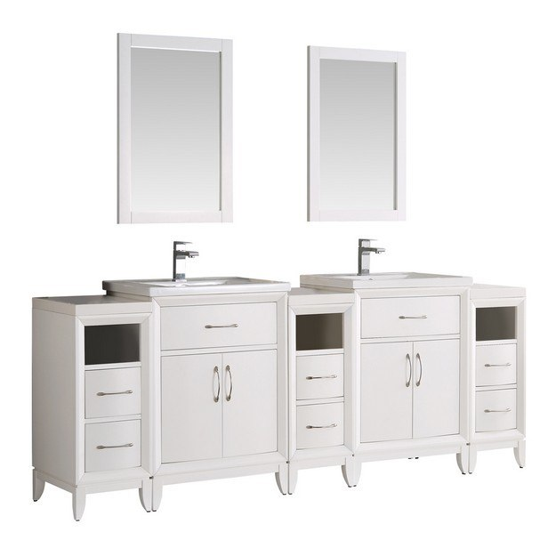 Fresca fvn21 84wh cambridge 84 inch white double sink traditional bathroom vanity with mirrors 84 inch double sink bathroom vanity