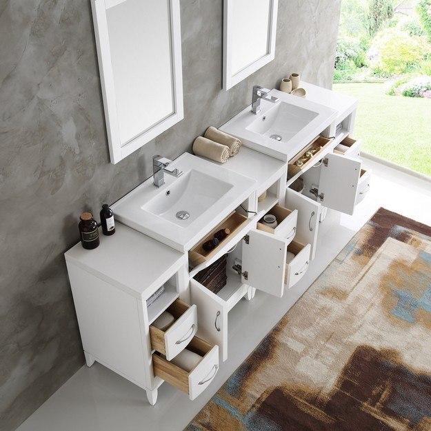 Fresca Fvn21 84wh Cambridge 84 Inch White Double Sink