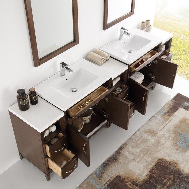 96 Inch Bathroom Vanity Home Depot: Fresca FVN21-96AC Cambridge 96 Inch Antique Coffee Double