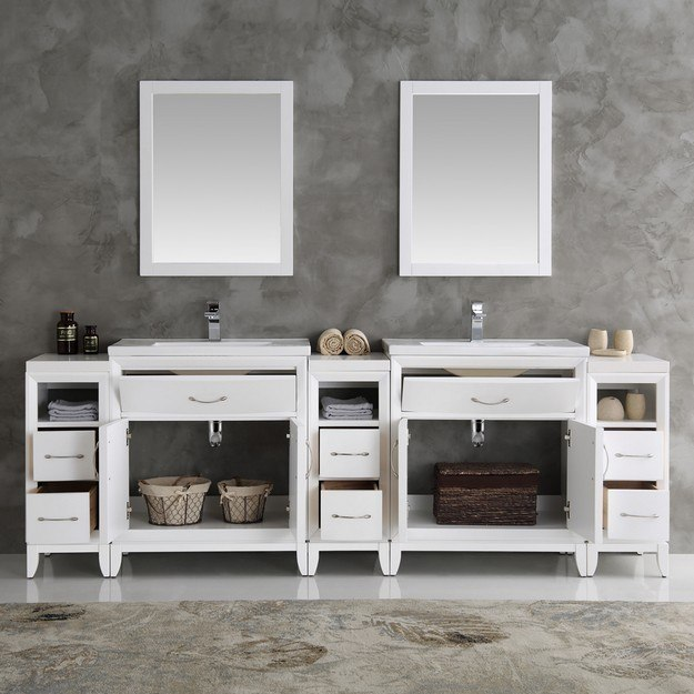 96 Inch Bathroom Vanity Home Depot: Fresca FVN21-96WH Cambridge 96 Inch White Double Sink