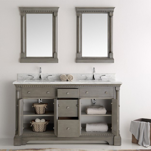 Fresca Fvn2260sa Kingston 60 Inch Antique Silver Double Sink Traditional Bathroom Vanity With