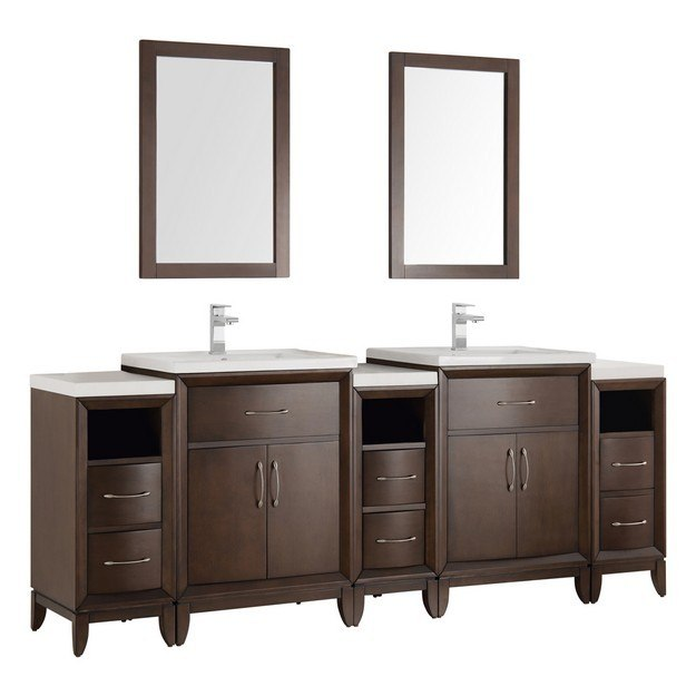 Fresca Fvn21 84ac Cambridge 84 Inch Antique Coffee Double Sink Traditional Bathroom Vanity With
