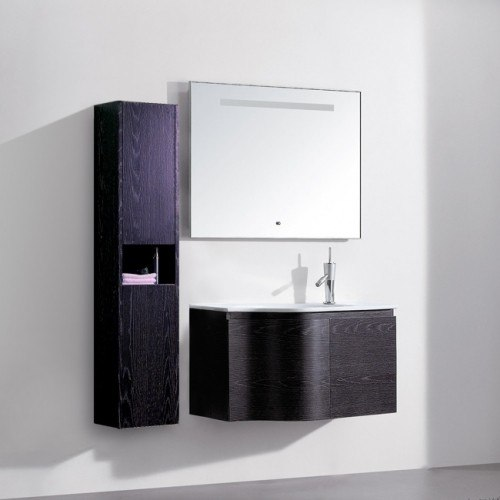 Lada Onda 90 Black Oak Wall Hung Bathroom Vanity Set 36 Inch Lada Vanity La