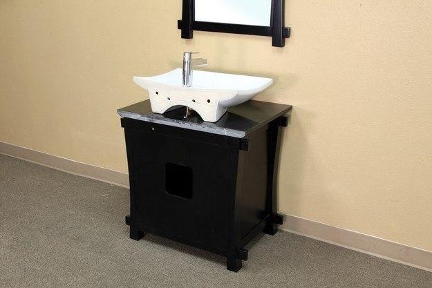 Black Vanity Cabinet Vessel Sink: BellaTerra Home 203012 30 Inch Single Sink Vanity-Wood-Black