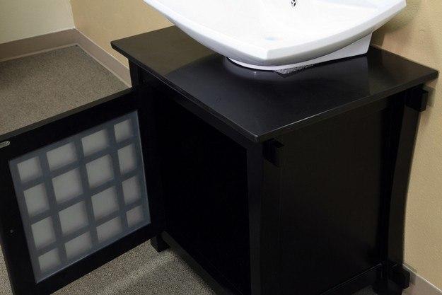 BellaTerra Home 203012 30 Inch Single Sink Vanity-Wood-Black