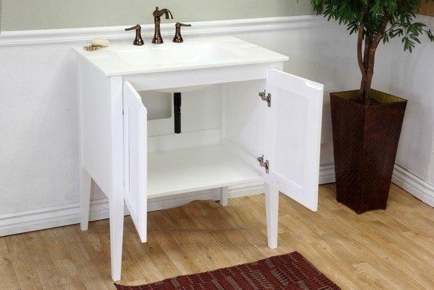 33 Single Bathroom Vanity: BellaTerra Home 203054-WH 33.5 Inch Single Sink Vanity