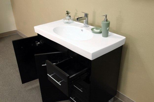 bellaterra home 203129 b r 39 inch single sink vanity wood black right side drawers 203129br. Black Bedroom Furniture Sets. Home Design Ideas