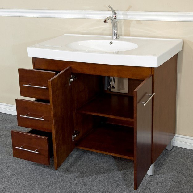 Left Side Sink Vanity : ... 203129-W-L 39 Inch Single Sink Vanity-Wood-Walnut - Left Side Drawers