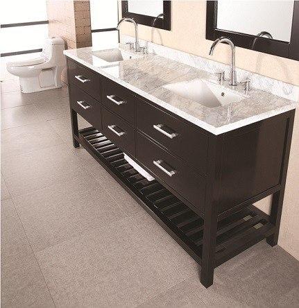 Design Element Dec077b London 72 Inch Double Sink Vanity Set In Espresso