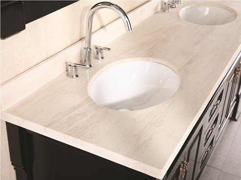 Design Element DEC081B Marcos 72 Inch Double Sink Vanity Set With Travertine