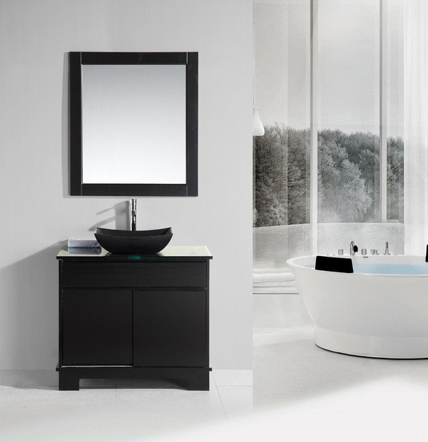 Design element dec105 36 oasis 36 inch single sink vanity set with decorative drawer in espresso for 36 inch espresso bathroom vanity
