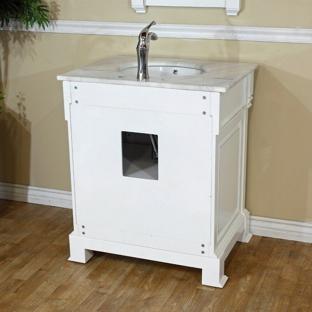Bellaterra Home 205030 Wh 30 Inch Single Sink Vanity Wood White 205030wh