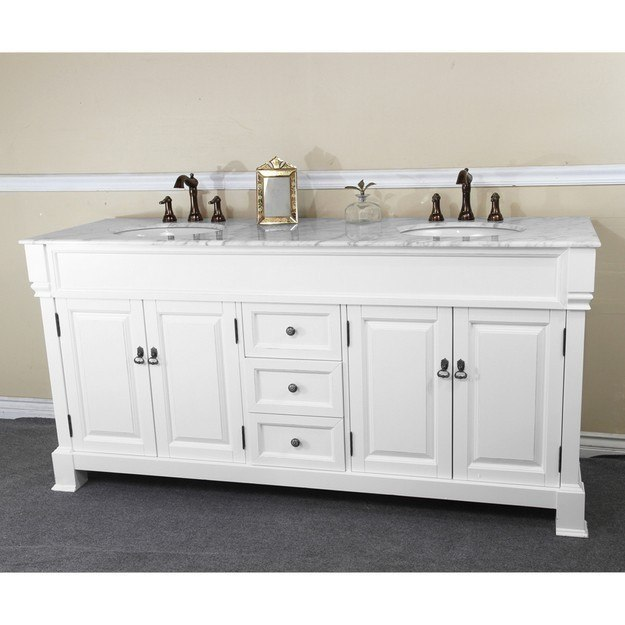 BellaTerra Home 205072 D WH 72 Inch Double Sink Vanity Wood Espresso 205072DWH