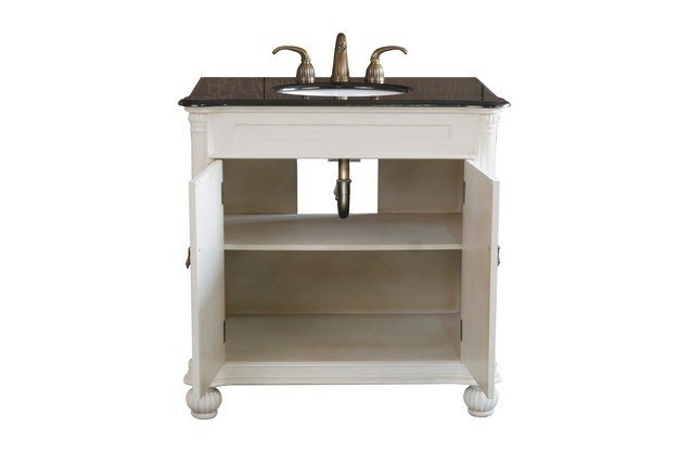 Bellaterra Home 602335 Aw 36 Inch Single Sink Vanity Wood Antique White 602335aw