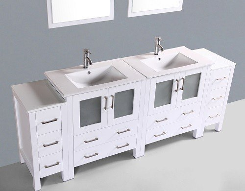 Bosconi Aw230u2s 84 Inch Double Vanity In White Finish