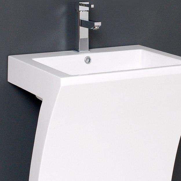 22 Inch Pedestal Sink : Fresca FVN5024WH Quadro 22.5 Inch White Pedestal Sink w/ Medicine ...