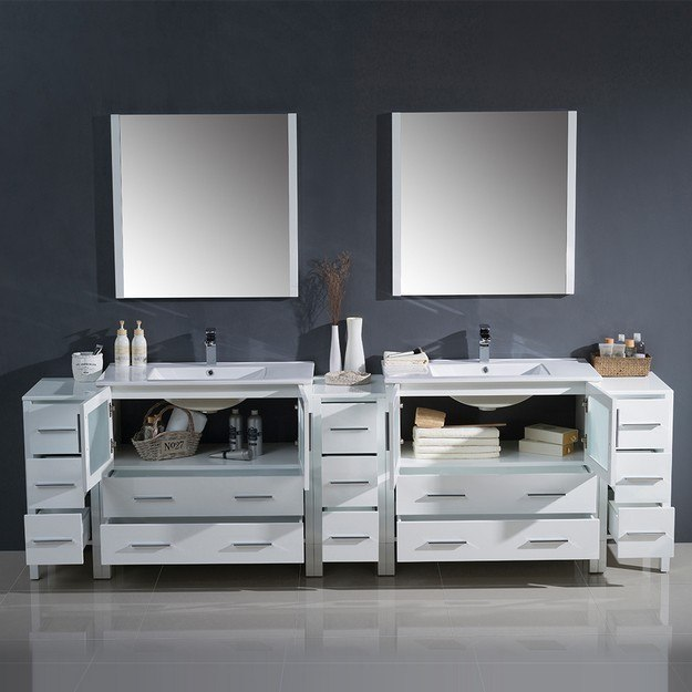 Fresca Fvn62 108wh Uns Torino 108 Inch White Modern Double Sink Bathroom Vanity W 3 Side