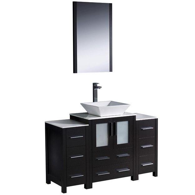 Fresca Fvn62 122412es Vsl Torino 48 Inch Espresso Modern Bathroom Vanity W 2 Side Cabinets