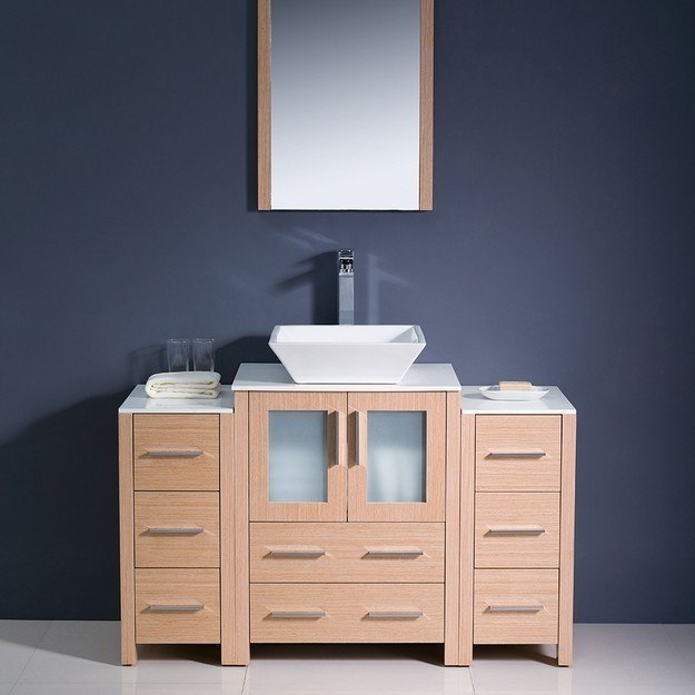 Fresca FVN62 122412LO VSL Torino 48 Inch Light Oak Modern Bathroom Vanity W