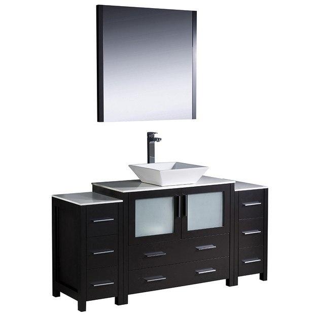 Fresca Fvn62 123612es Vsl Torino Inch Espresso Modern Bathroom Vanity W 2 Side Cabinets