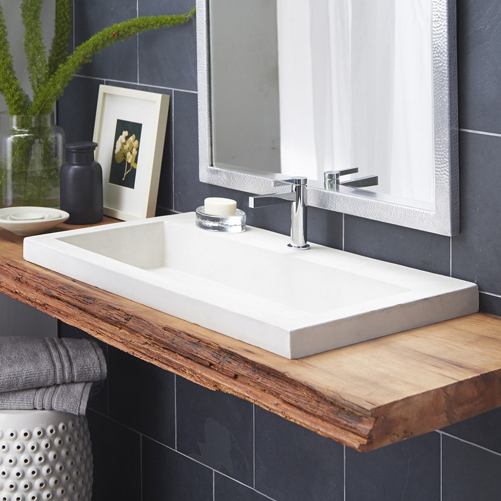 Native trails nsl3619 trough 36 inch handcrafted - Rectangular drop in bathroom sink ...