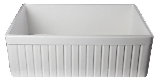 30 Inch Fireclay Farmhouse Sink : ... Brand AB509 Fluted 30 Inch Single Bowl Fireclay Farmhouse Kitchen Sink