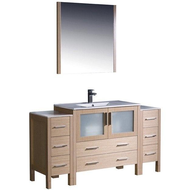 Fresca Fvn62 123612lo Uns Torino Inch Light Oak Modern Bathroom Vanity W 2 Side Cabinets