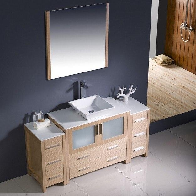Fresca Fvn62 123612lo Vsl Torino Inch Light Oak Modern Bathroom Vanity W 2 Side Cabinets