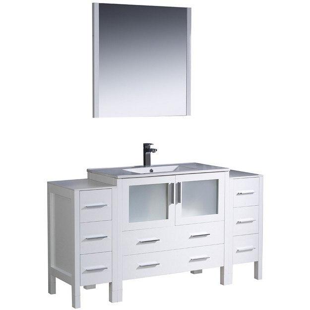 Fresca Fvn62 123612wh Uns Torino Inch White Modern Bathroom Vanity W 2 Side Cabinets