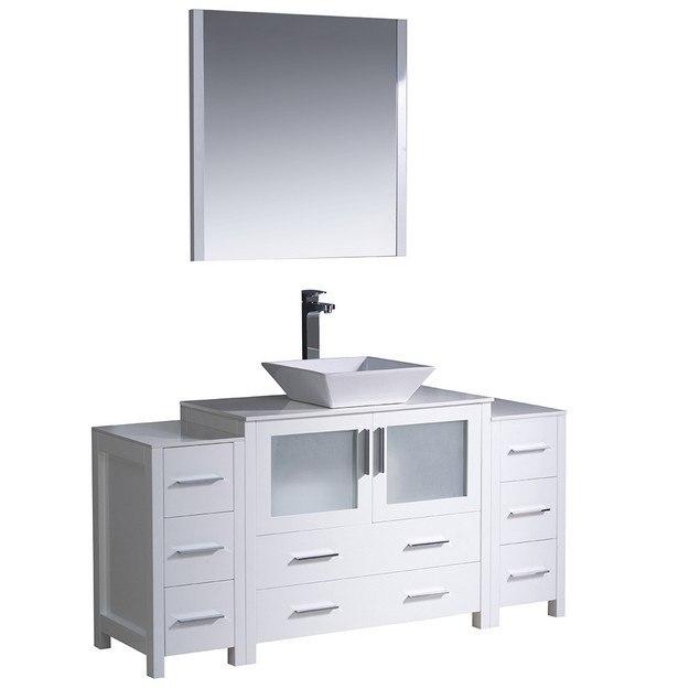 Fresca Fvn62 123612wh Vsl Torino Inch White Modern Bathroom Vanity W 2 Side Cabinets