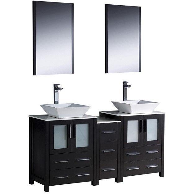Fresca FVN62 241224ES VSL Torino 60 Inch Espresso Modern Double Sink Bathroom