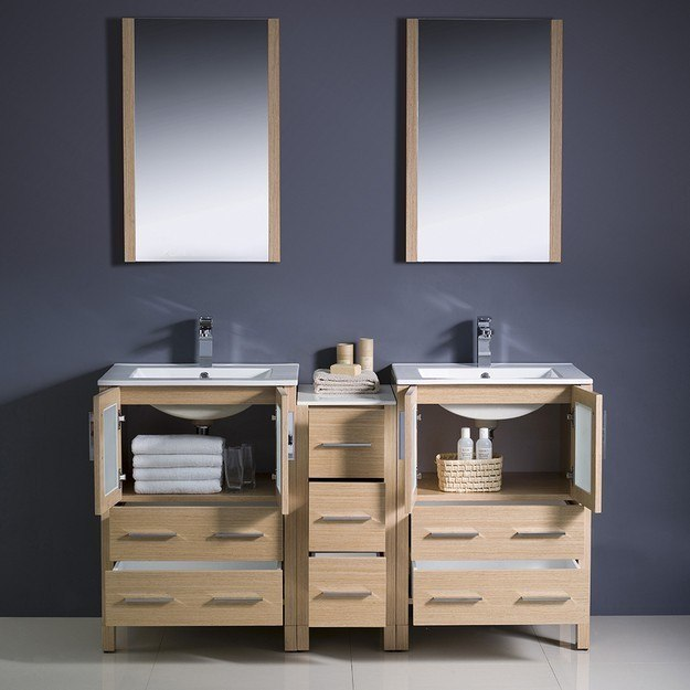 Fresca FVN62 241224LO UNS Torino 60 Inch Light Oak Modern Double Sink Bathroo