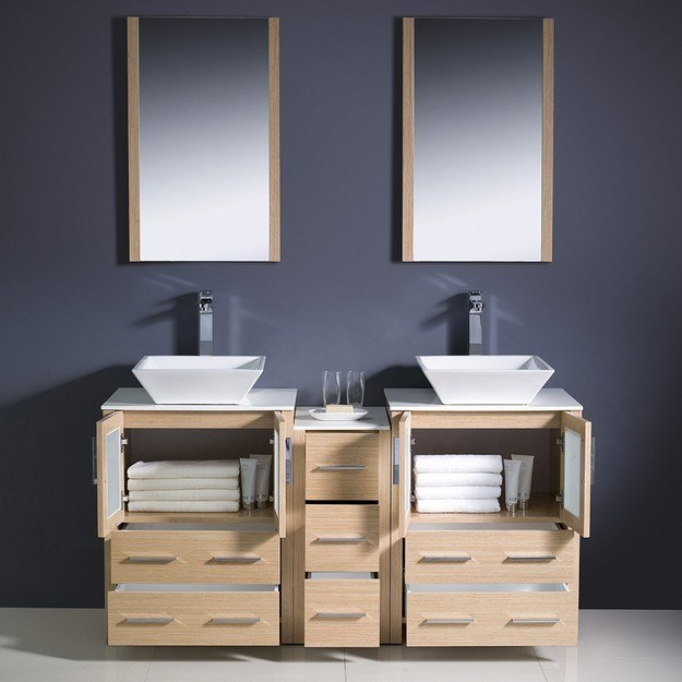 Fresca FVN62 241224LO VSL Torino 60 Inch Light Oak Modern Double Sink Bathroo