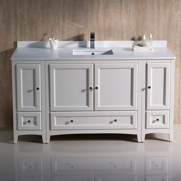 60 inch antique white traditional bathroom cabinets with top and sink