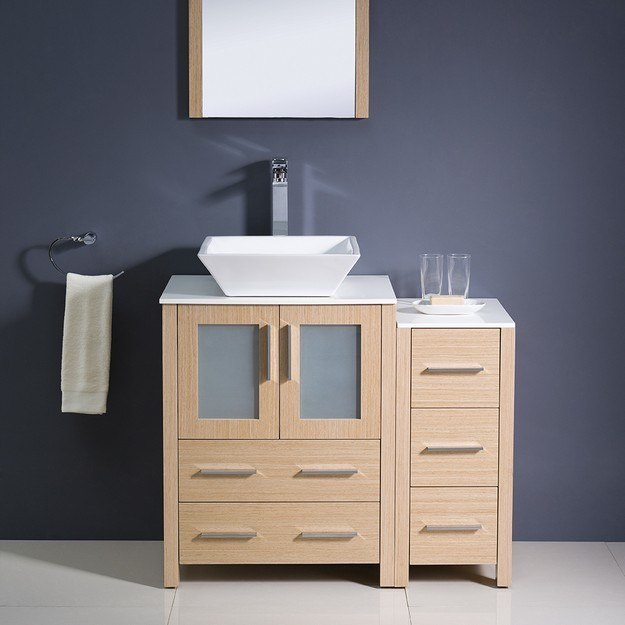 Fresca FVN62 2412LO VSL Torino 36 Inch Light Oak Modern Bathroom Vanity W Si