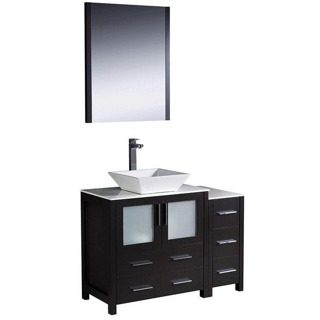 42 inch espresso modern bathroom vanity w side cabinet vessel sink