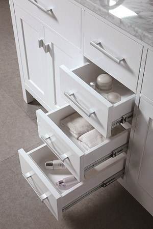 Design Element DEC076A W London 61 Inch Double Sink Vanity Set In White DEC07
