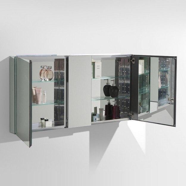 Fresca fmc8013 49 inch wide bathroom medicine cabinet w mirrors fresca bathroom medicine for Fresca 60 wide bathroom medicine cabinet w mirrors
