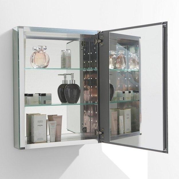 Fresca fmc8058 small 19 5 inch wide bathroom medicine cabinet w mirrors fresca bathroom for Fresca 60 wide bathroom medicine cabinet w mirrors