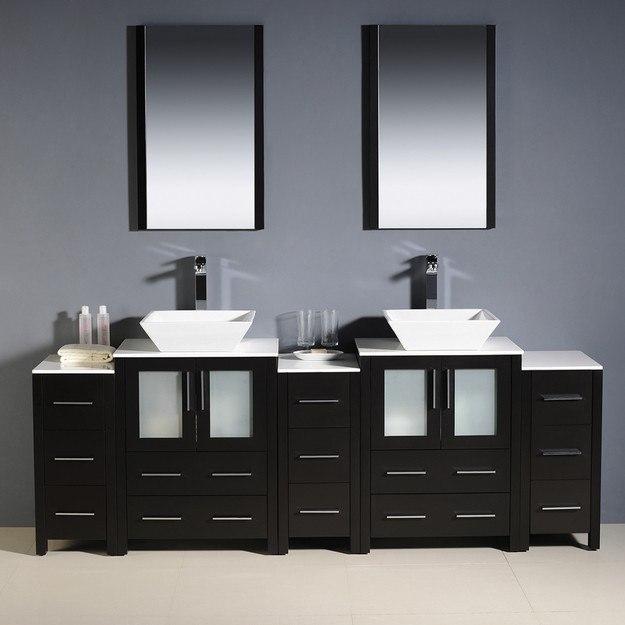 Fresca Fvn62 72es Vsl Torino 84 Inch Espresso Modern Double Sink Bathroom Vanity W 3 Side