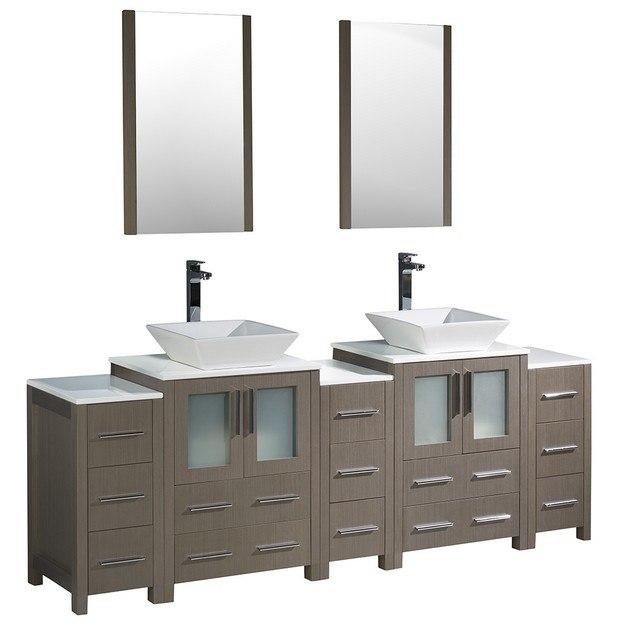 Fresca Fvn62 72go Vsl Torino 84 Inch Espresso Modern Double Sink Bathroom Vanity W 3 Side