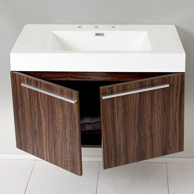 Fresca FCB8090GW I Vista Walnut Modern Bathroom Cabinet