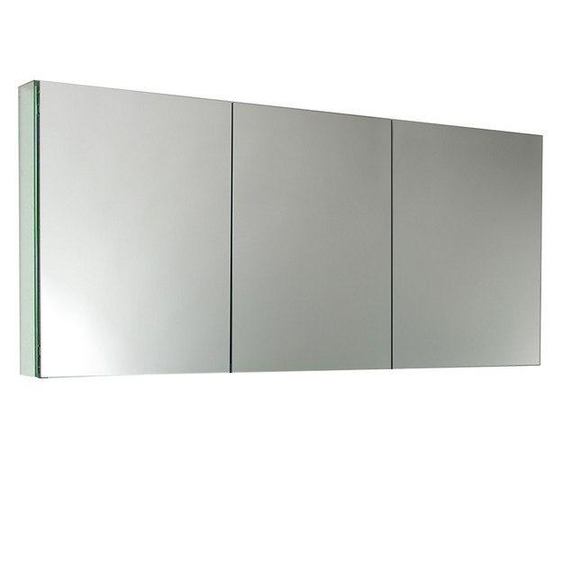 Fresca fmc8019 59 inch wide bathroom medicine cabinet w mirrors fresca bathroom medicine for Fresca 60 wide bathroom medicine cabinet w mirrors