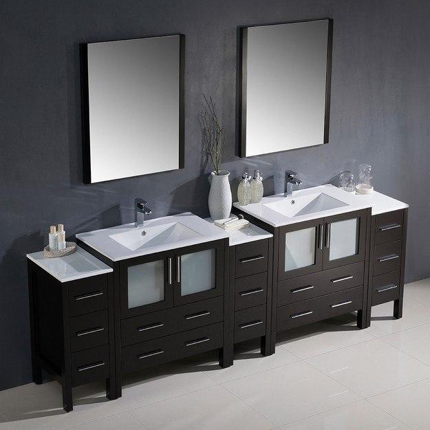 Fresca FVN62 96ES UNS Torino 96 Inch Espresso Modern Double Sink Bathroom Van