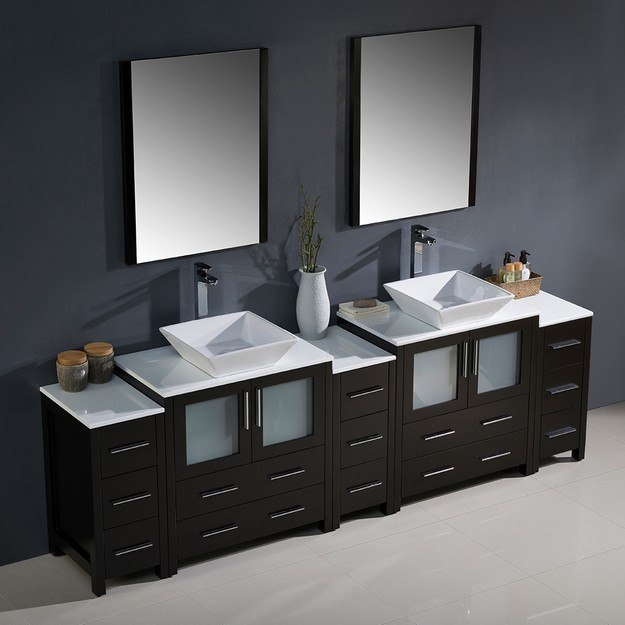 Fresca Fvn62 96es Vsl Torino 96 Inch Espresso Modern Double Sink Bathroom Vanity W 3 Side