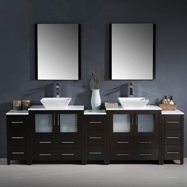 Fresca FVN62 96ES VSL Torino 96 Inch Espresso Modern Double Sink Bathroom Van